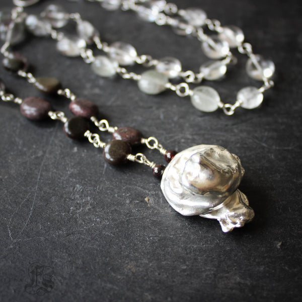 Tide Pool Necklace.  Long Water Cast Sterling Silver Statement Necklace with Phantom Quartz.