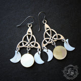 Nicnevin's Moons. Triple Moon Statement Earrings. Celtic Witch Chandeliers.