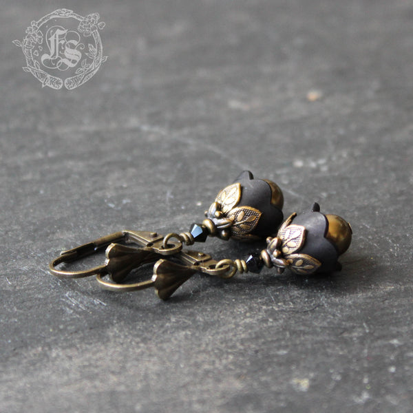 Black Tulip Fairy Flowers Earrings with Victorian Brass Filigree Flower Girl Goth Wedding