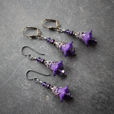 Violet Fairy Flower Earrings.  Hypoallergenic Flower Earrings in Purple and Gunmetal.