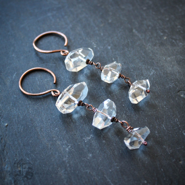 Ginungagap Hangers in 14g. Quartz Crystal Statement Ear Weights.