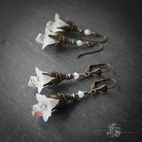White Lily Fairy Flower Earrings.