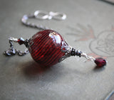 Witch Ball in Gunmetal and Blood Red. Wee Portable Spirit Catcher. Witchball.