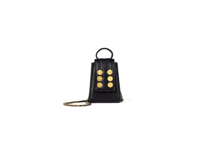 Monaco Maxi Black Leather with Gold coins