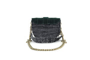 Fabric Shoulder Bag - Pixel 'Orbit' Cypress Corduroy / Black
