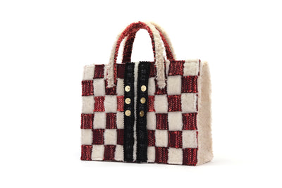 Book Tote Pixel Burgundy/Cream Sheepskin