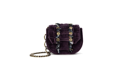 Velvet Shoulder Bag - Bubble 'Orbit' Purple