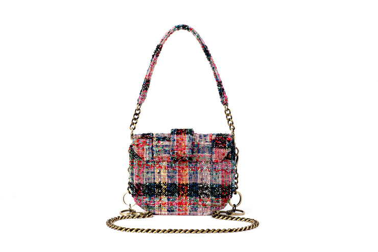 Tweed Shoulder Bag -  'Orbit' Blue/Red