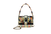 Tweed Shoulder Bag -  'Orbit' OffWhite/Green
