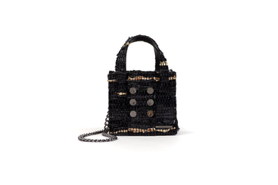 Leather  Shoulder Bag - Mini Tote BlackGold