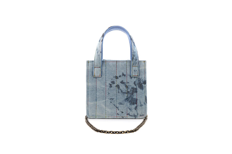 Mini Book Tote in Bleached Denim and Baby-Blue coins