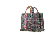 Tweed Diana Book Tote - Multi Mint/Fuchsia coins (trim)