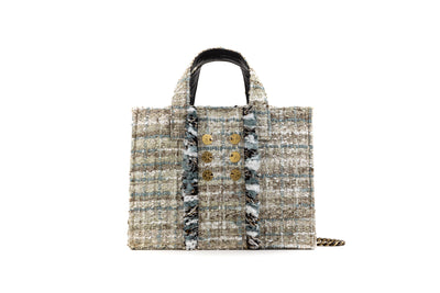 Tweed Diana Book Tote - Greyfruit/Gold coins (trim)
