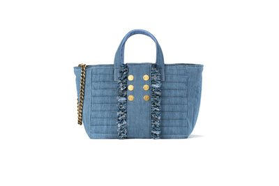 "Book Tote Diana ""V"" Light Denim with trim and Gold coins"