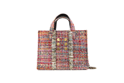 Tweed Diana Book Tote - Watermelon/Gold coins (trim)