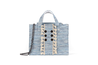 Tweed Diana Book Tote - Sky Blue (tassels)