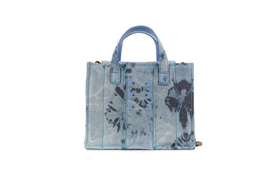 Diana Book Tote in Bleached Denim with Baby-Blue coins