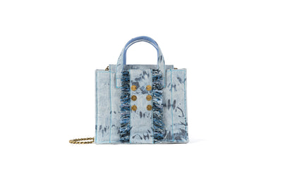 Diana Book Tote in Bleached Denim with Gold coins