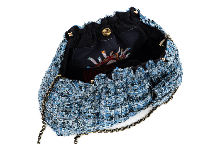 Clam The Pouch Maxima Blue Azul with Black coins