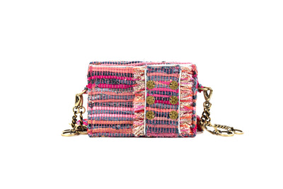 Shoulder Bag ''Jasper'' Fuchsia jeans/Gold coins
