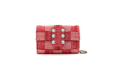 Medium Pixel Clutch in Red Love-Knot Tweed with Aqua coins
