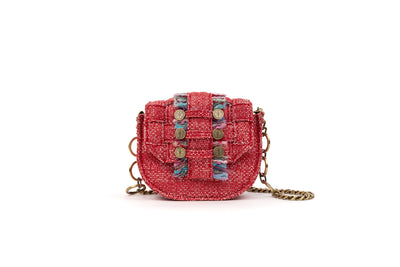 Tweed Shoulder Bag - Bubble 'Orbit' Red / Gold coins