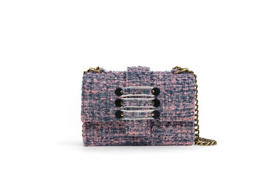 Tweed Shoulder Bag - Notting Hill Pink Pearl Black coins