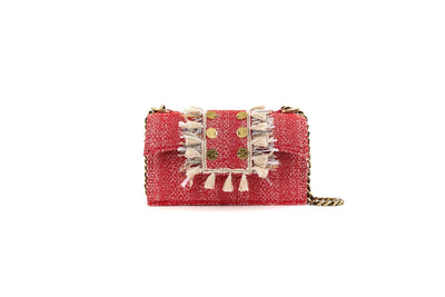 Shoulder Bag -  Soho Tweed Red Knot Gold coins