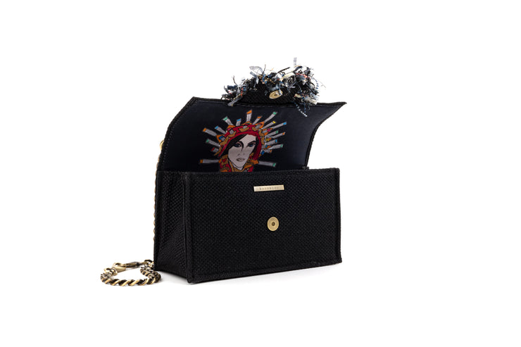 Shoulder Bag - Soho Tweed Black/ Gold coins trim