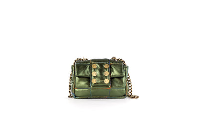 Petite Pillow Metallic Leather Verde