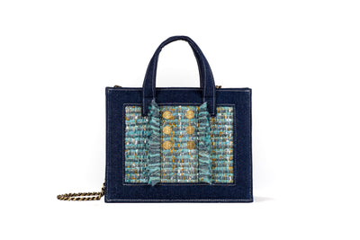 Book Tote Diana Dark Denim/Mint Gold coins