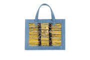 Book Tote Tweed Mustard Jean on LightDenim with Gold coins