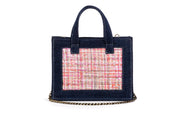 Book Tote Diana Dark Denim/Pink Sequins with Gold coins