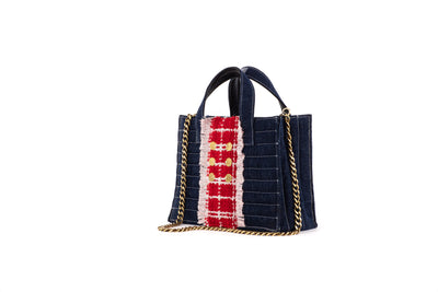 Book Tote Diana Midi Denim Dark/Red Gold coins