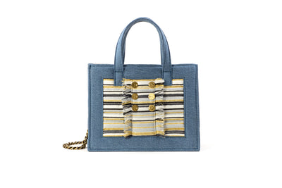 Book Tote Diana Midi Light /Mustard Stripes Gold coins