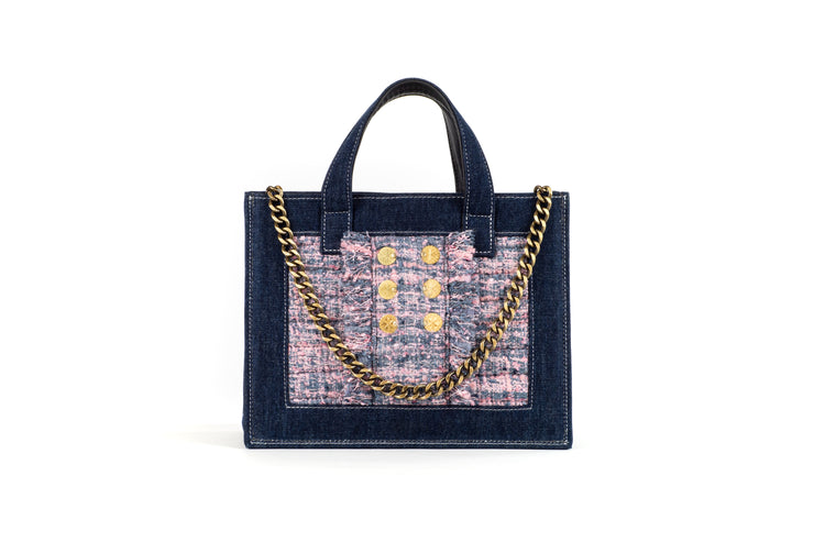 Book Tote Diana Dark Denim/Pink Pearl Gold coins