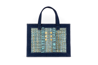 Book Tote Tweed Mint on Denim with Gold coins