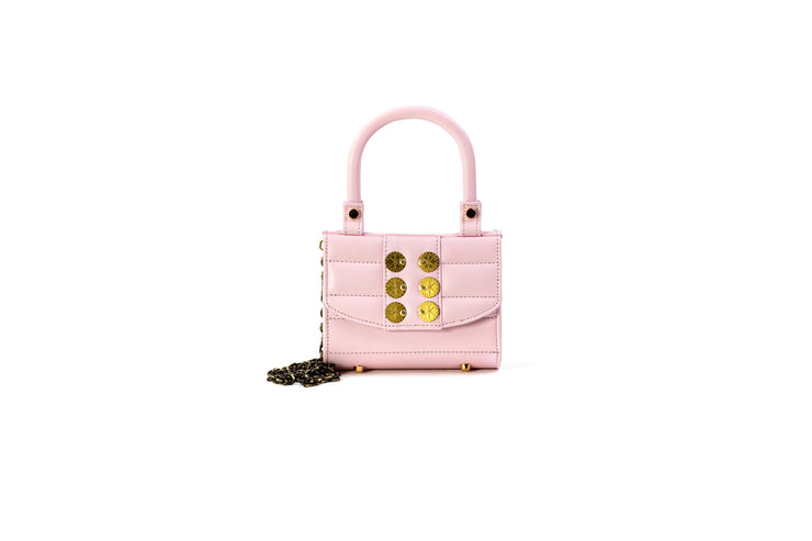 Bella in Baby Pink Leather with Gold Coins