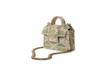 Fabric Shoulder Bag - Petite Rhombus Green Knot