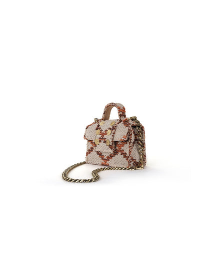 Fabric Shoulder Bag - Petite Rhombus Amber Love