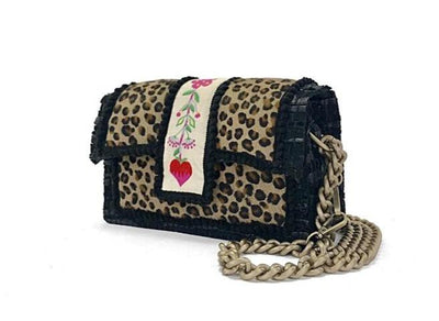 Leather Shoulder Bag -  New Yorker Soho Leopard Embroidery OffWhite cs