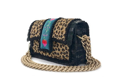 Leather Shoulder Bag -  New Yorker Soho Leopard Embroidery Petrol cs