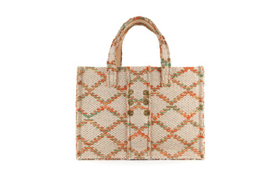 Fabric Book Tote - Rhombus Orange Love