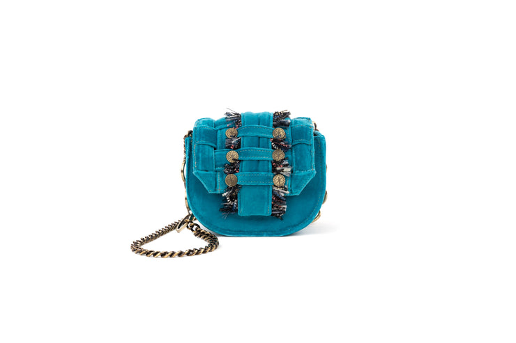 Velvet Shoulder Bag - Bubble 'Orbit' Turquoise