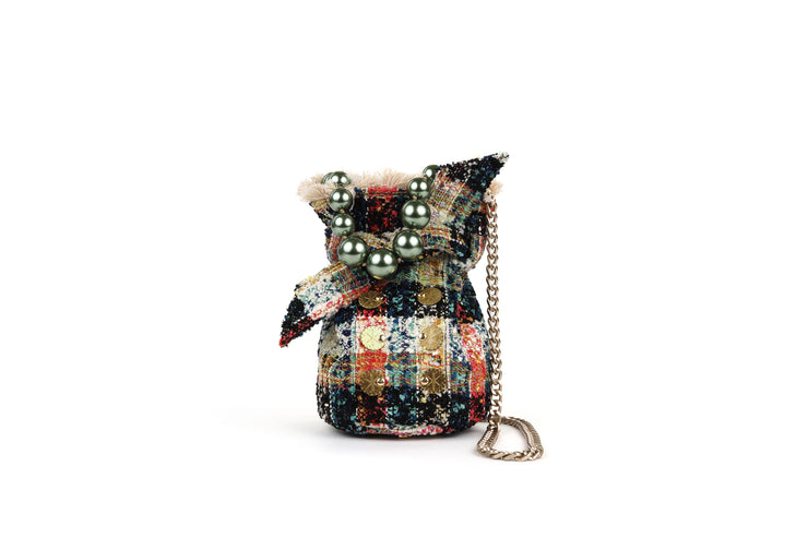Tweed Pouch - Charlotte Off White / Green