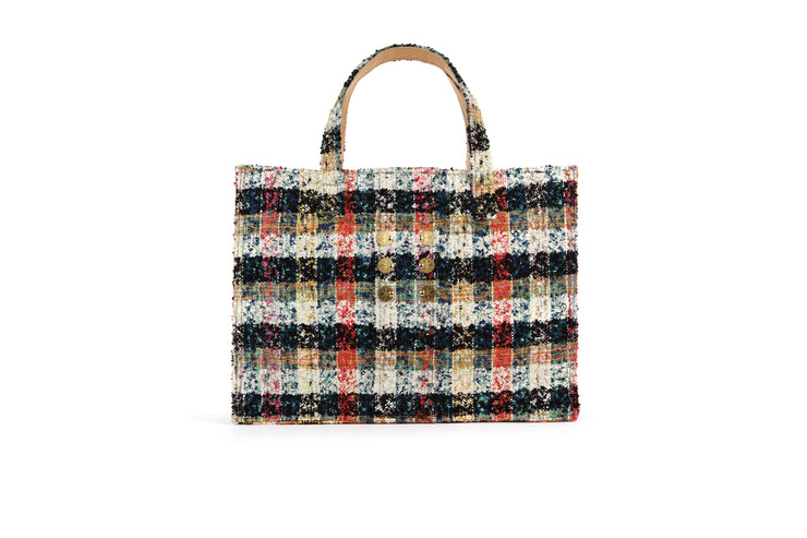 Tweed Book tote - Cicadas Off White / Green