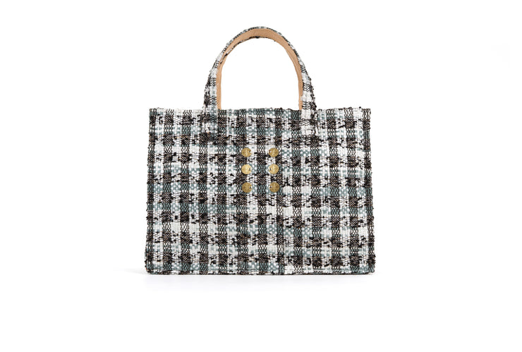 Tweed Book tote - Cicadas Off White / Grey