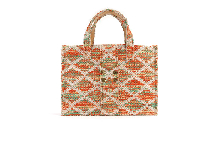 Fabric Book Tote - Rhombus Orange Knot