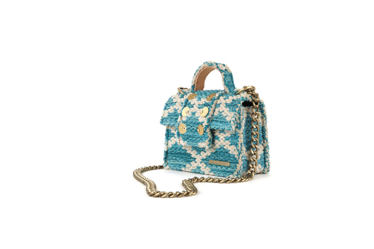 Fabric Shoulder Bag - Petite Rhombus Petrol Knot