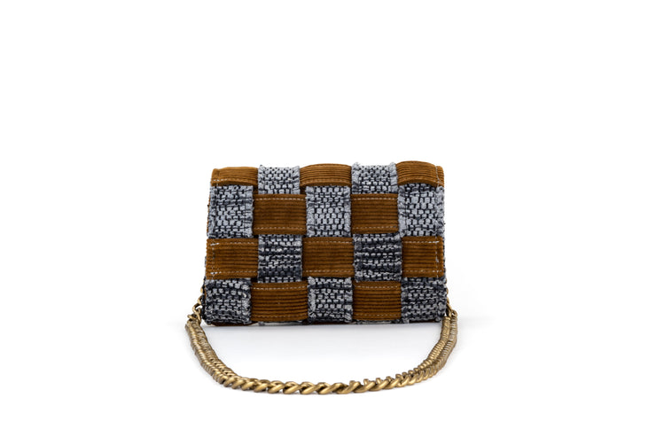 Medium Pixel Clutch - Corduroy Honey Brown / Grey